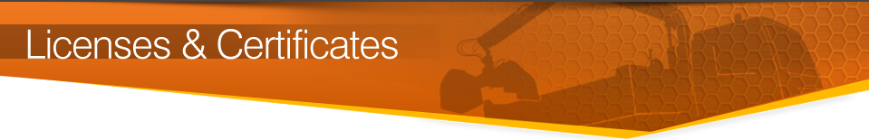Seales Grab Hire Licenses & Certificates